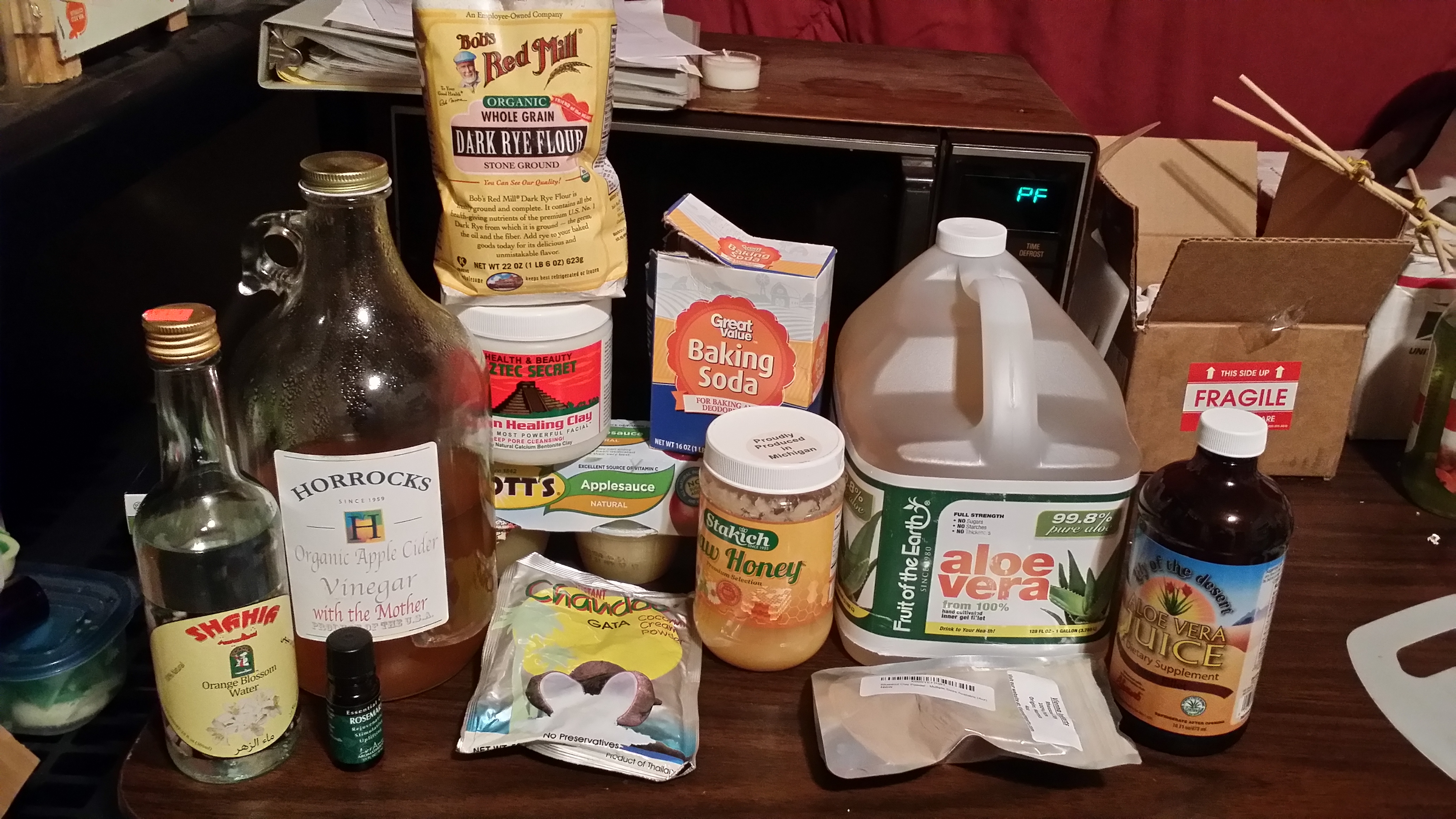 Baking soda, apple cider vinegar, honey, aloe, two kinds of clay, etc.