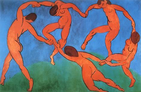 The Dance by Henri Matisse depicts five people holding hands and dancing in a circle.